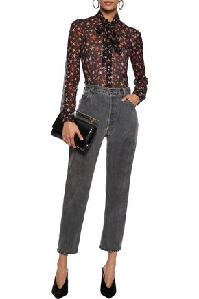 RED(V) Pussy-bow printed silk-georgette shirt