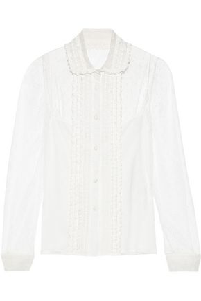 REDValentino Crochet-trimmed point d'esprit blouse