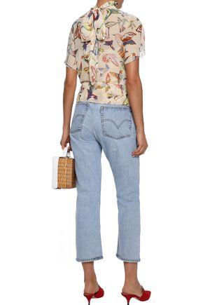 REDValentino Tie-neck printed silk-georgette blouse