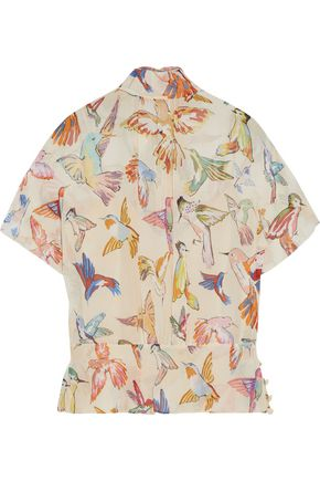 REDValentino Tie-neck printed silk-georgette blouse