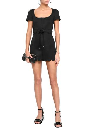 REDValentino Scalloped mesh-paneled neoprene playsuit