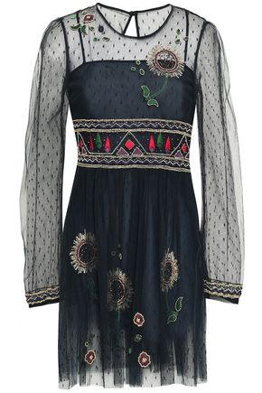 REDValentino Embellished point d'esprit mini dress