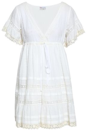 REDValentino Crochet-trimmed fil coupé cotton mini dress