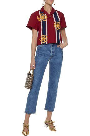 REDValentino Embroidered striped stretch-cotton shirt