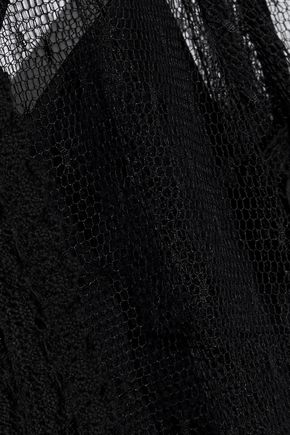 REDValentino Crochet-trimmed point d'esprit top