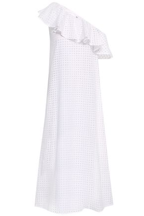PAPER London Chichi one-shoulder broderie anglaise cotton midi dress