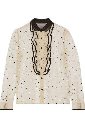REDValentino Ruffle-trimmed Swiss-dot silk-organza blouse