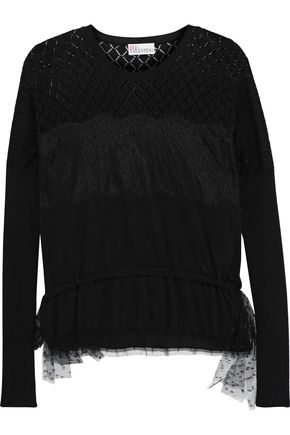 REDValentino Pointelle-paneled lace-appliquéd cotton sweater