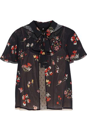 REDValentino Point d'esprit-paneled floral-print silk-blend chiffon shirt