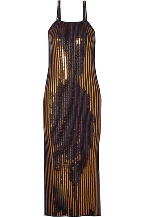 CEDRIC CHARLIER Sequined ribbed stretch-knit midi dress