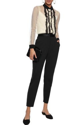 REDValentino Ruffle-trimmed point d'esprit top