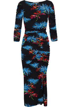 DIANE VON FURSTENBERG Ruched floral-print stretch-mesh midi dress