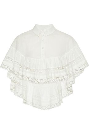 REDValentino Crochet-trimmed fil coupé cotton-voile cape