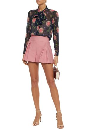 REDValentino Pussy-bow printed silk-georgette blouse