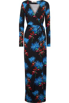 Diane Von Furstenberg Maxi dresses DIANE VON FURSTENBERG WOMAN NEW JULIAN FLORAL-PRINT SILK MAXI WRAP DRESS BLACK