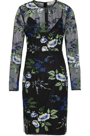 DIANE VON FURSTENBERG Embroidered tulle mini dress