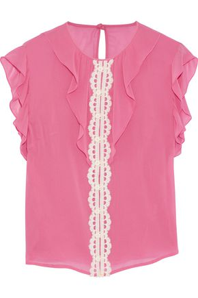 REDValentino Guipure lace-trimmed ruffled silk-blend chiffon blouse