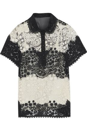 REDValentino Paneled guipure lace and chiffon shirt