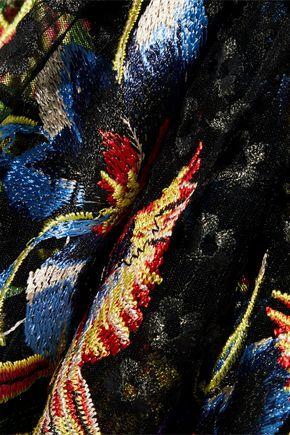 DIANE VON FURSTENBERG Embroidered mesh wrap gown