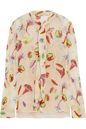 REDValentino Pussy-bow floral-print silk-gauze blouse