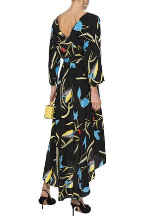 DIANE VON FURSTENBERG Eloise cold-shoulder floral-print silk midi wrap dress