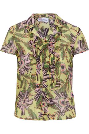 REDValentino Pintucked floral-print cotton and silk-blend shirt