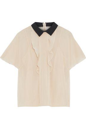 REDValentino Ruffled stretch-silk shirt