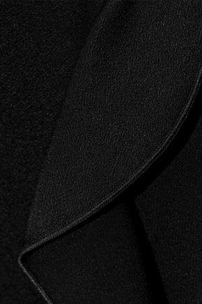 RACHEL ZOE Holland wrap-effect satin-paneled crepe playsuit