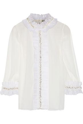 ALICE + OLIVIA Mira embellished ruffle-trimmed chiffon blouse
