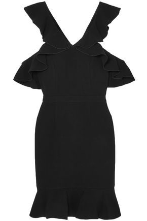 RACHEL ZOE Delia cold-shoulder ruffled crepe mini dress