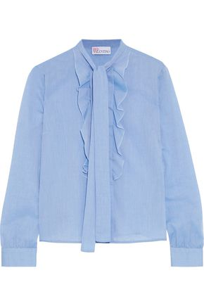 REDValentino Pussy-bow ruffle-trimmed cotton blouse