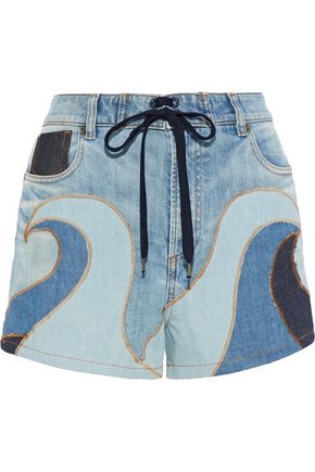 REDValentino Distressed patchwork denim shorts