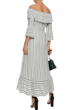 RACHEL ZOE Viola off-the-shoulder striped gauze midi dress
