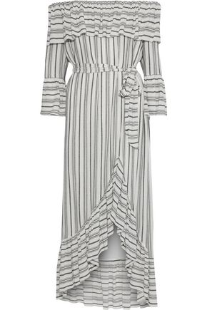 RACHEL ZOE Viola off-the-shoulder striped gauze midi dress