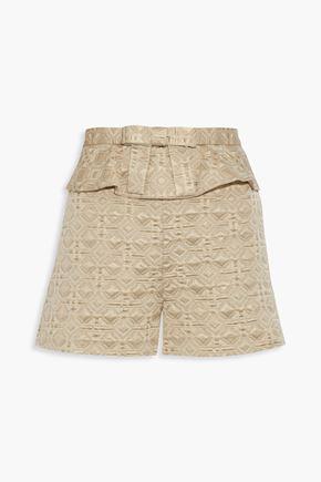 REDValentino Bow-embellished metallic jacquard peplum shorts