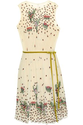 REDValentino Belted embellished point d'esprit mini dress