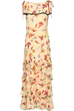REDValentino Bow-embellished tiered floral-print silk-georgette maxi dress