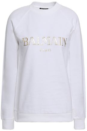BALMAIN Metallic printed French cotton-terry sweatshirt