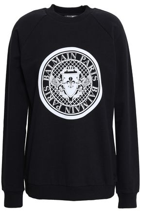 BALMAIN Flocked French cotton-terry sweatshirt