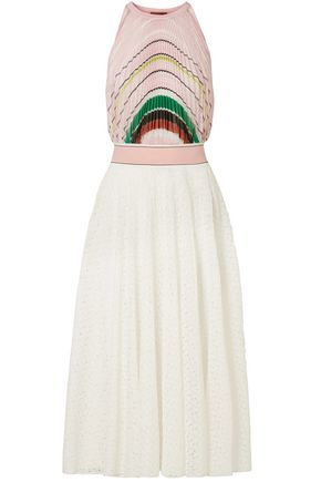MISSONI Pleated crochet-knit midi dress