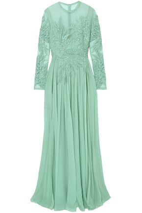 3e307f04 ELIE SAAB Embellished silk-blend Swiss-dot tulle, lace and chiffon gown