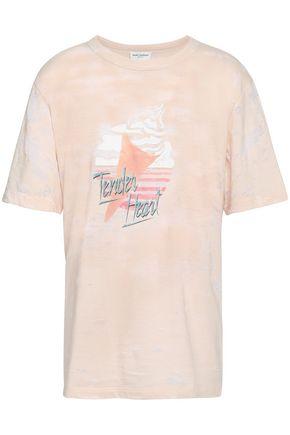 SAINT LAURENT Burnout printed cotton-blend jersey T-shirt