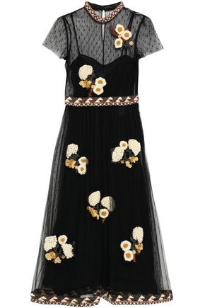 REDValentino Floral-appliquéd point d'esprit midi dress