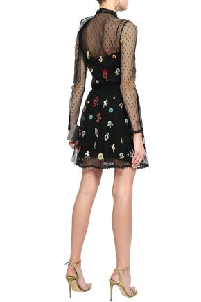REDValentino Pussy-bow embellished point d'esprit mini dress