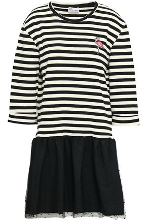 REDValentino Appliquéd striped cotton-blend and point d'esprit mini dress