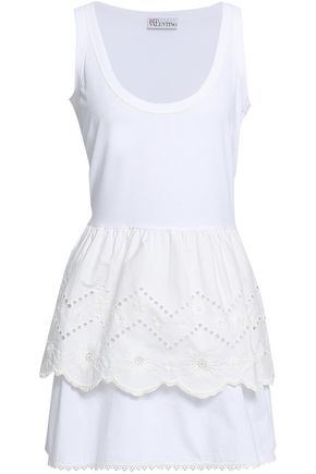 REDValentino Broderie anglaise cotton-jersey mini dress