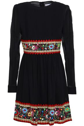 REDValentino Embroidered stretch-silk mini dress