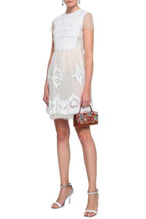 REDValentino Embellished point d'esprit mini dress