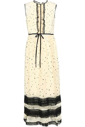 REDValentino Ruffle-trimmed Swiss-dot organza midi dress