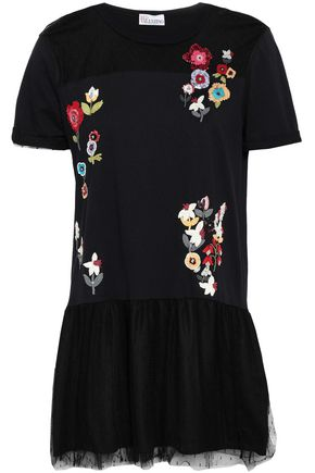 REDValentino Embellished point d'esprit-paneled cotton-jersey mini dress